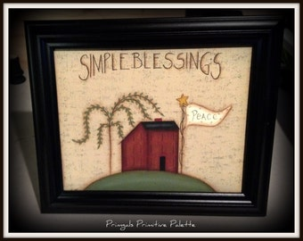 Primitive Saltbox House Blessings 8x10 Framed Canvas Home Decor Picture
