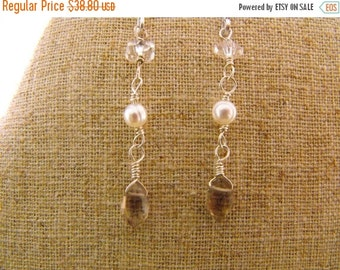 END of Year SALE Classic Beauty. Pearl. Quartz Crystal. Smoky Quartz Sterling Silver Drop Earrings