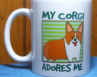 Corgi Mug, Dog Coffee Mug, Dog Lover Gift, Corgi Gift, Coffee Cup, Friend Gift, Coworker Gift, Pembroke Welsh Corgi, Corgi Coffee Cup