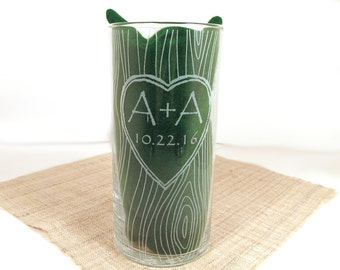 Carved Tree Unity Candle - Personalized Etched Glass Vase - Custom Floating Candle - Sand Candle