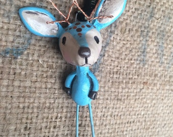 Blue boy reindeer woodland folk art Christmas ornament Ready to ship with wire antlers