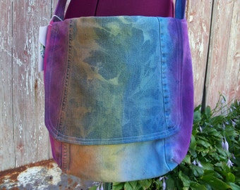 Upcycled Denim Messenger Bag Purse with Vintage Giraffe Print Fabric Lining ooak