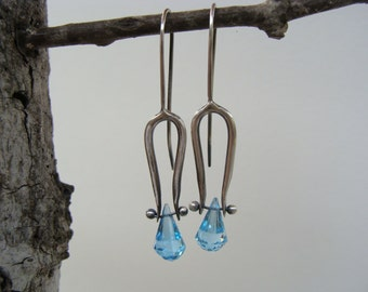 Blue Topaz Chandelier Drop Sterling Silver Artisan Oxidized Dangle Earrings