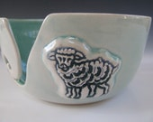 Ceramic Pottery Yarn Bowl / Knitting Bowl in Turquoise with Green Sheep