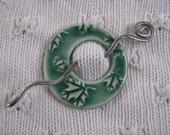 Shawl Pin Brooch Ceramic Pottery Celadon Green