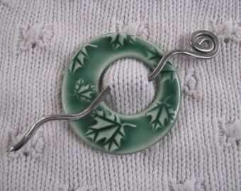Shawl Pin Brooch Ceramic Pottery Celadon Green