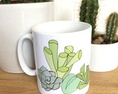 succulent mug - plant print mug - succulent illustrated ceramic mug - nature / botanical / home gift