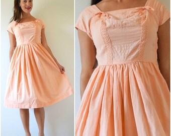 SUMMER SALE / 20% off Vintage 50s 60s Peach Pin Tucked New Look Cotton Sundress (size small, medium)
