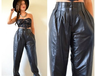 SUMMER SALE / 20% off Vintage 80s 90s High Waisted Pleated Black Leather Trousers (size small, medium)