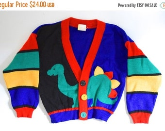 FLASH SALE / 25% off Vintage 80s 90s Little Brontosaurus Childrens Cardigan Sweater (size 2T)