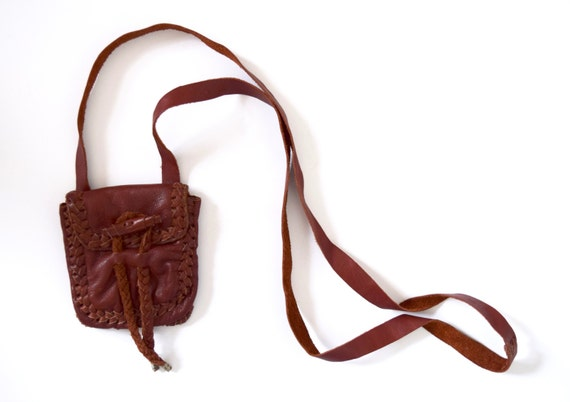 Vintage 70s Whiskey Brown Leather Crossbody Mini Purselette