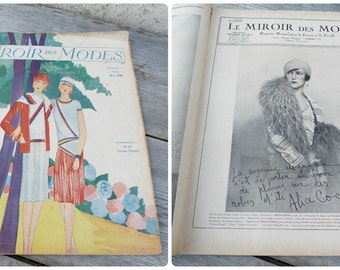 Vintage August 1928 French Issue magazine  MIROIR Des Modes  fashion paper ephemera advertisment
