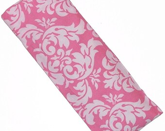 Eye Pillow, Eye Mask, Hot Cold Microwave Pack, Pink White Damask - Flaxseed Lavender - READY to SHIP
