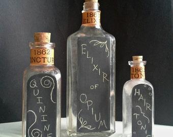 3 Chalkboard Potion Bottles, Apothecary Druggist Medicine Pharmacy Glass Bottles, Tincture Elixir Tonic