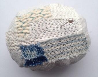 Slowstitched Fabric pincushion