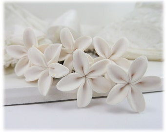 Small Simple White Flower Hair Pins - Small Jasmine Hair Flowers