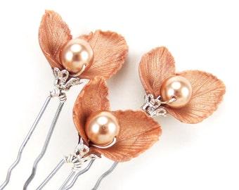 Rose Gold Pearl Leaf Hair Pins - Rose Gold Leaf Hair Accessories