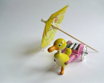 Vintage Goula Duck Pulling a Fish Cart Figure, Wood Duck Figurine, Spain