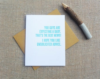 Letterpress Greeting Card - New Baby Card - Thinking Out Loud - Unsolicited Advice - TOL-067