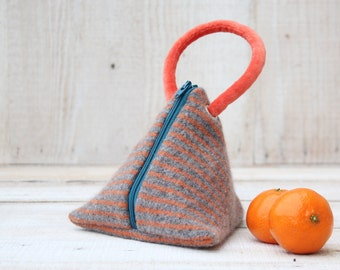 Triangle Pouch in Orange Gray and Teal Stripes