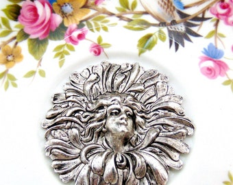 SILVER (2 Pieces) Flower Fairy Woman Stampings - Jewelry Antique Silver Findings (C-101)