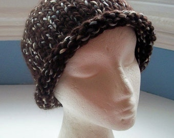 JULY SALE Beanie hat, chunky, handknitted, warm, chocolate brown, wool ribbon mix