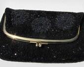 Vintage Black Beaded Clutch , Vintage Beaded Bag, Black Beaded Purse, Evening Purse, Evening Bag, Japan Art Industries, Rhinestone Clasp, EX