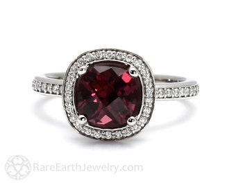 Rhodolite Garnet Ring Cushion Diamond Halo Garnet Engagement Ring 14K Gold or Palladium January Birthstone Gemstone Ring