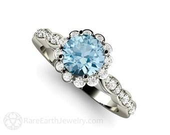 Aquamarine Ring Aquamarine Engagement Ring Platinum Diamond Halo Aqua Ring March Birthstone Gemstone Ring