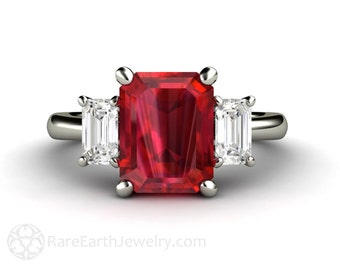 Ruby Ring Ruby Engagement Ring 3 Stone White Sapphire July Birthstone Red Gemstone 14K or 18K Gold Unique Engagement