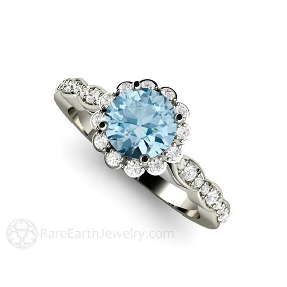 aquamarine ring aquamarine engagement ring platinum