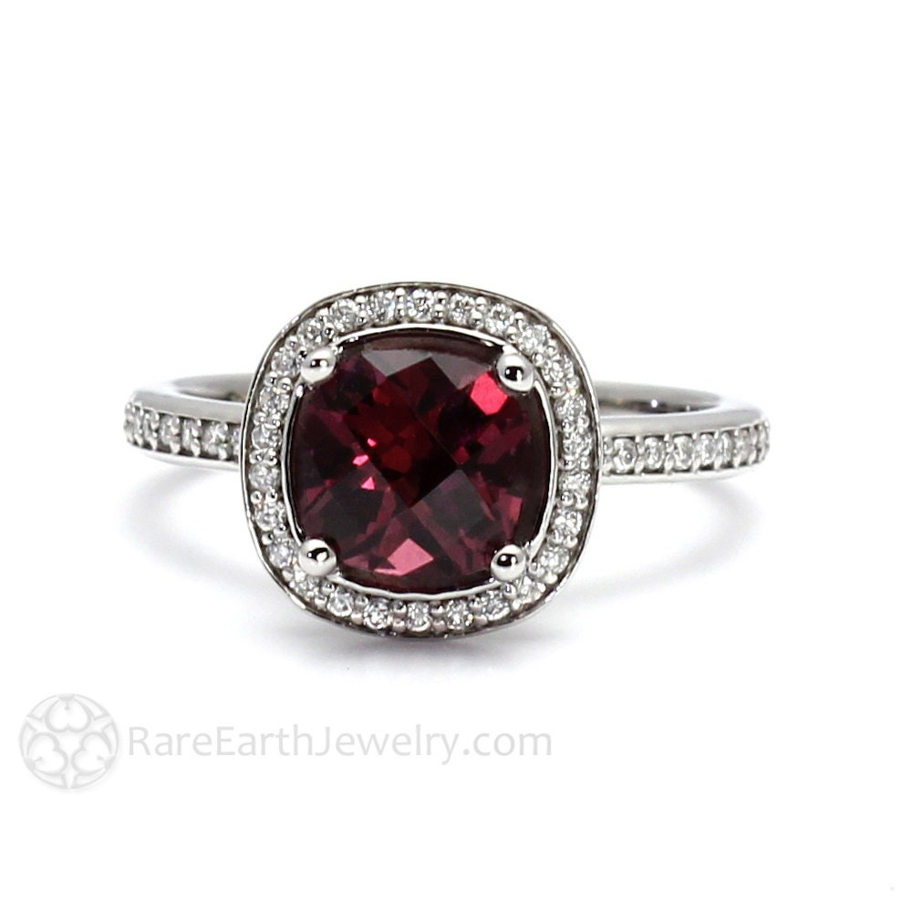 Garnet Ring Bands: Rhodolite Garnet Ring Cushion Diamond Halo Garnet Engagement