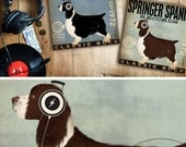 Springer Spaniel dog records album inspired style dog artwork on gallery wrapped canvas by stephen fowler