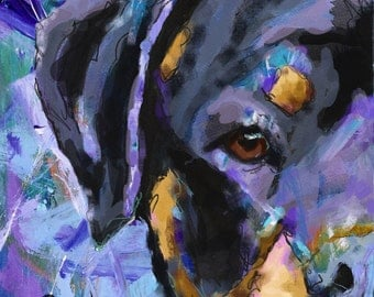 Rottweiler Art Print of Original Painting 11x14