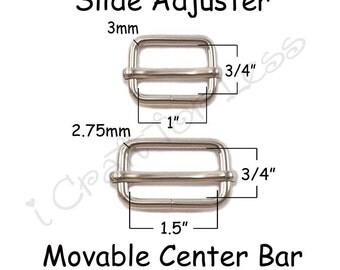 "10 Slide Adjusters / Tri Glides / Tri Bars for Adjustable Straps - 1"" or 1.5"" with Movable Center Bar - SEE COUPON"