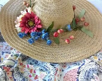 Custom Sun Hat, Bonus Dress to Match, Boho Summer Days, Beautiful Sun Dress in All Cotton Gauzy Fabric, Elastic Bodice, 10 12 to 42 bust