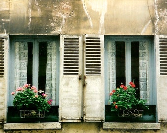 Maison - Country French Architecture - Window Box Gardens - French Style - Original Colour Film Matted Photograph by Suzanne MacCrone Rogers