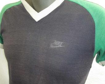 Vintage Nike t shirt 70s Distressed Worn T shirt blue shirt Blue Nike shirt 70s vintage faded shirt S M