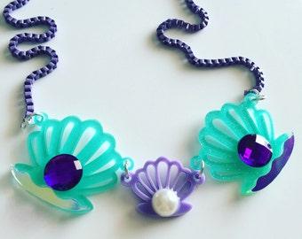 OCEAN SHELLS gem laser cut necklace