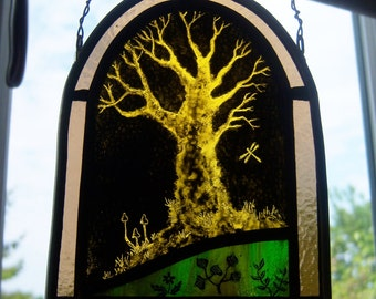 Ancient Tree Stained Glass Panel