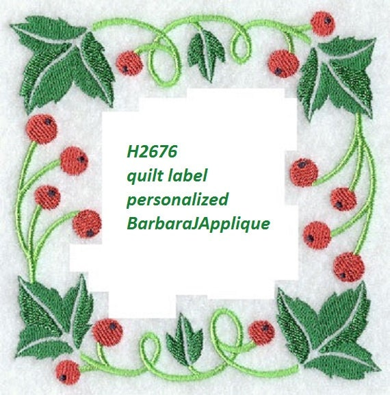 Quilt label h machine embroidered personalized
