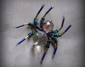 Purple and Gold  Beaded Spider Ornament Sun catcher