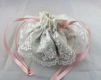 Wedding Pouch -  Bridesmaid - White Satin and Scalloped Lace - Handmade