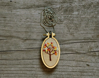 hand embroidery oval fiber art necklace - Little Tree