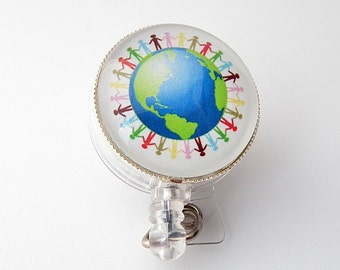 Hands Around the World Badge Holder, Retractable ID Badge Holder, Badge Reel, ID Holder, Name Badge Reel 270