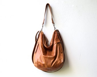leather backpack purse HOBO PACK in soft lightweight Italian leather - crossbody bag - with two outside zip pockets - select size