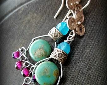 Boho, Gypsy, Vintage, Hoops, Colorful, Tribal, Czech Glass, Kuchi, Banjara, Organic, Rustic, Primitive, Weaved, Beaded Earrings