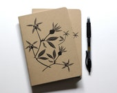 Two Medium Blank Notebooks, Letterpress Printed Cover, Wildflowers, Rose Hips, Small Journal, Gift for Writer, Botanical, Sketchbook, Doodle