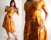 Vintage 1960s Floral Dress - Silk Mustard Yellow Off Shoulder Shantung Party Dress - Medium
