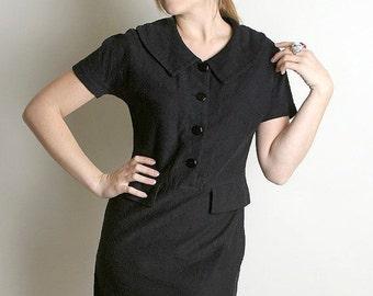 ON SALE Vintage Wiggle Dress - Black 1960s Noir Koret of California Knit Dress - Medium Mad Men Fashion